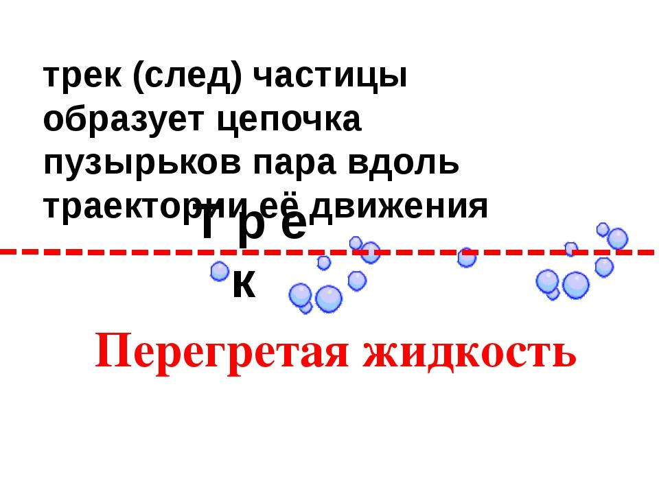 Т р е к трек (след) частицы образует цепочка пузырьков пара вдоль траектории...
