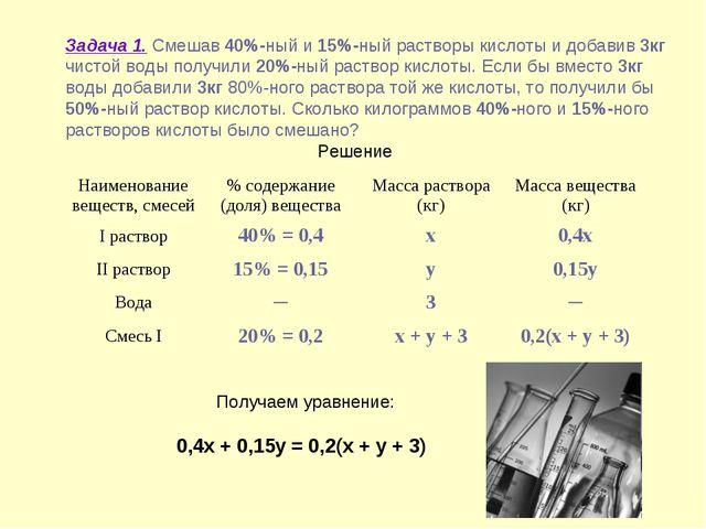 Задача 1. Смешав 40%-ный и 15%-ный растворы кислоты и добавив 3кг чистой вод...
