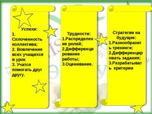 Успехи: 1. Сплоченность коллектива; 2. Вовлечение всех учащихся в урок 3. Уча