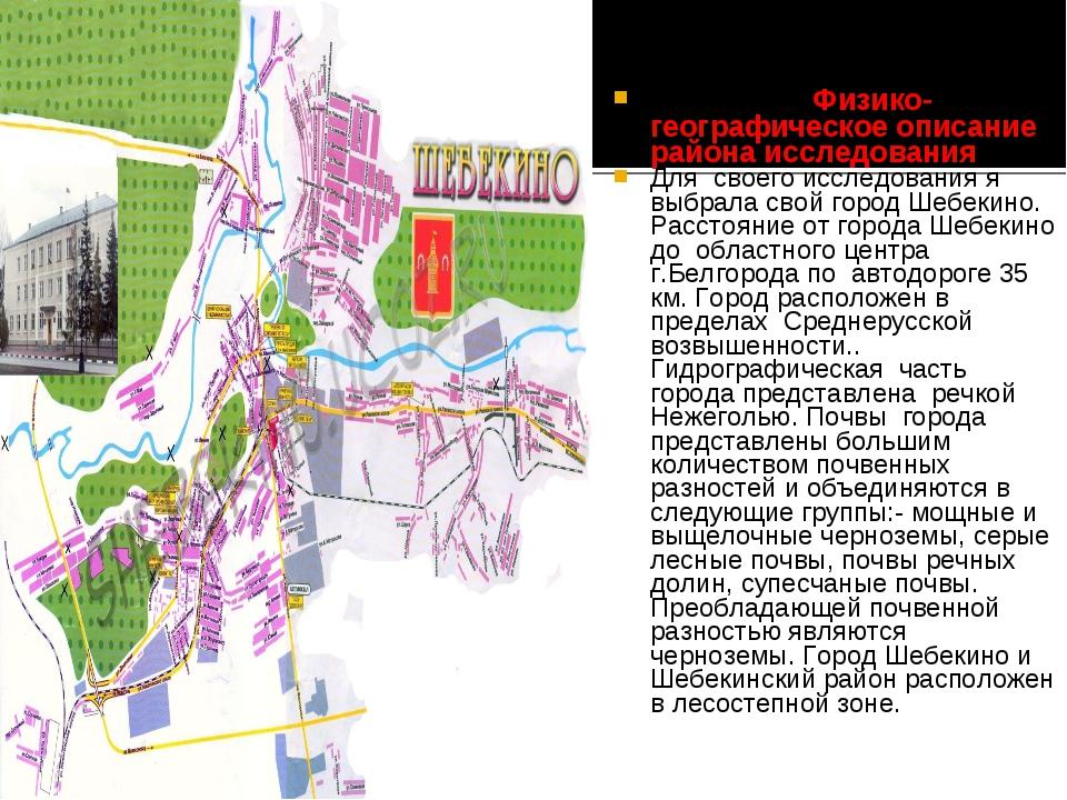 Физико-географическое описание района исследования Для своего исследования...