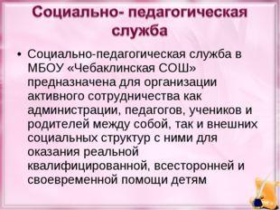 Социально-педагогическая служба в МБОУ «Чебаклинская СОШ» предназначена для о