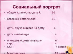 общее количество детей: 99 классных комплектов: 12 дети, обучающиеся на дому