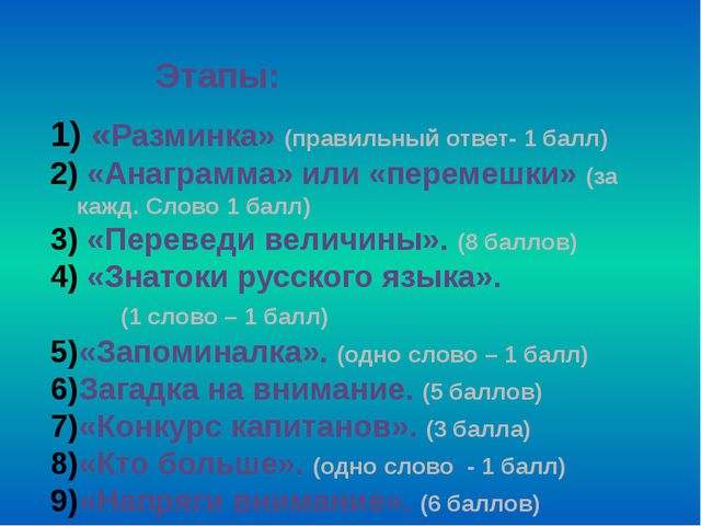 Этапы: «Разминка» (правильный ответ- 1 балл) «Анаграмма» или «перемешки» (...