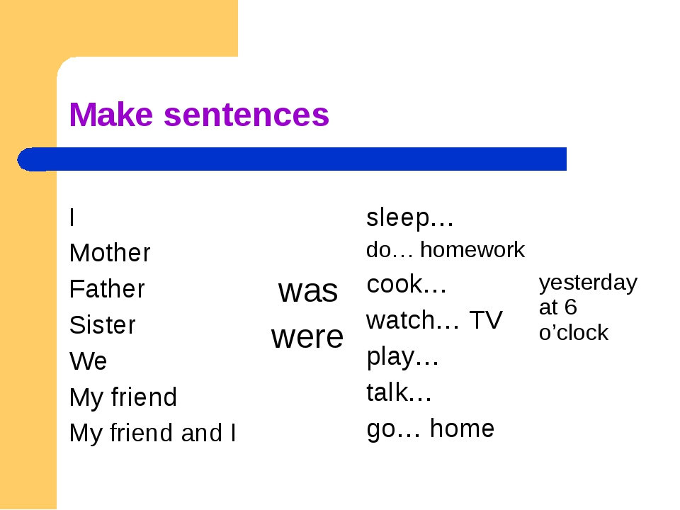 Make sentences I Mother Father Sister We My friend My friend and I was were...