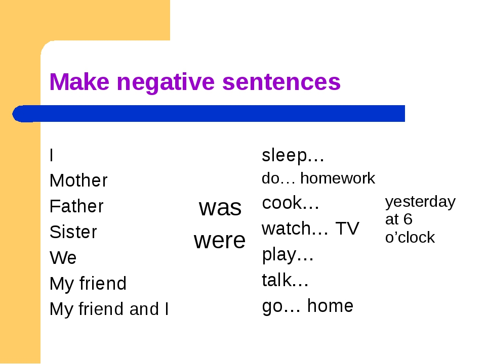 Make negative sentences I Mother Father Sister We My friend My friend and I...