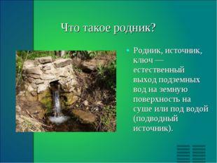 Что такое родник? Родник, источник, ключ — естественный выход подземных вод