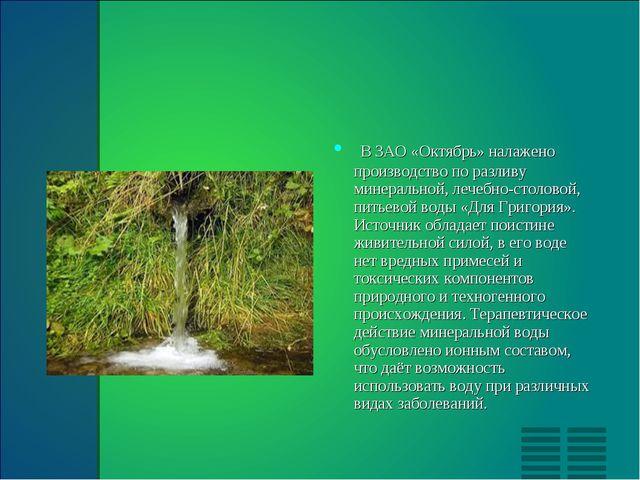 В ЗАО «Октябрь» налажено производство по разливу минеральной, лечебно-столово...