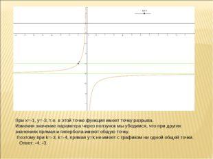 При х=-1, y=-3, т.е. в этой точке функция имеет точку разрыва. Изменяя значен