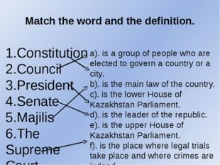 Match the word and the definition. 1.Constitution 2.Council 3.President 4.Sen