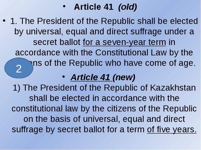 Article 41 (old) 1. The President of the Republic shall be elected by unive...