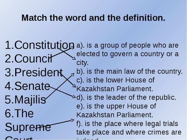 Match the word and the definition. 1.Constitution 2.Council 3.President 4.Sen...