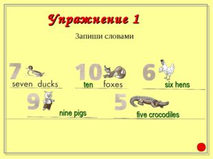 Запиши словами ten six hens nine pigs five crocodiles Упражнение 1