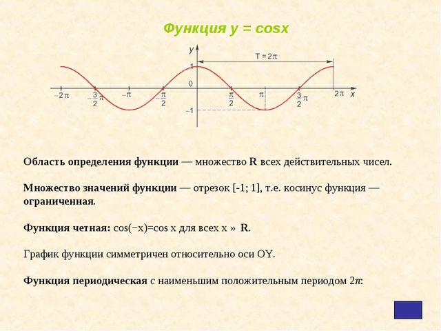 Область определения функции — множество R всех действительных чисел. Множеств...
