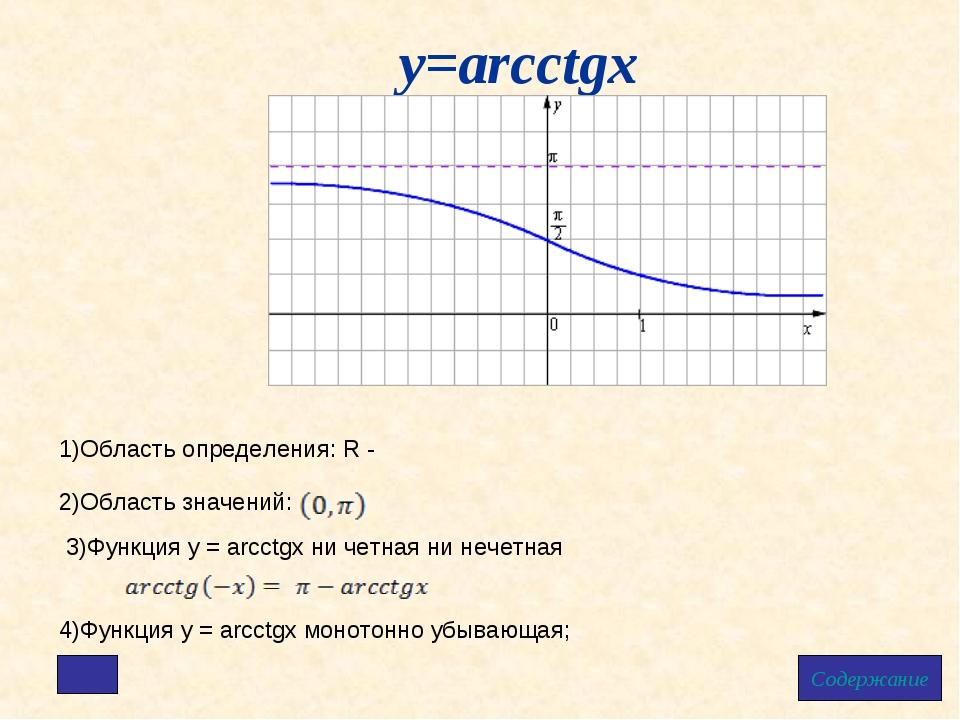 у=arcctgx Содержание 1)Область определения: R - 2)Область значений: 4)Функция...