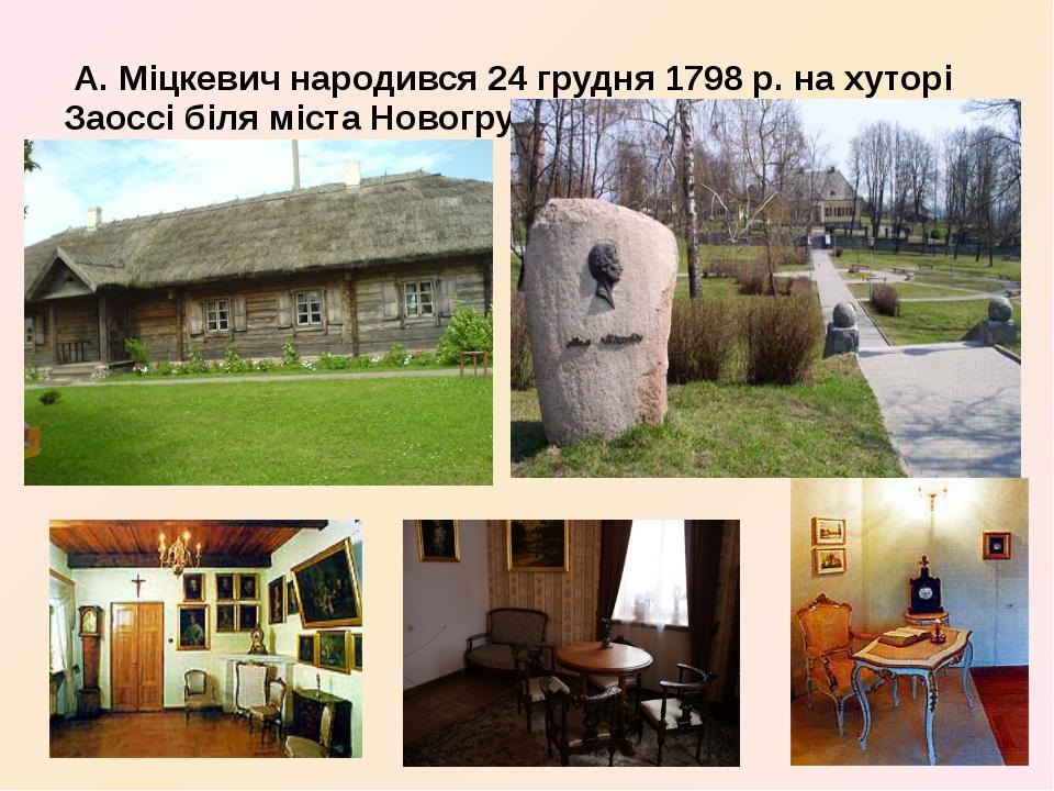 А. Міцкевич народився 24 грудня 1798 р. на хуторі Заоссі біля міста Новогруд...