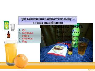 Дослід № 1 Для визначення наявності вітаміну С в соках знадобилося: Сік Склян
