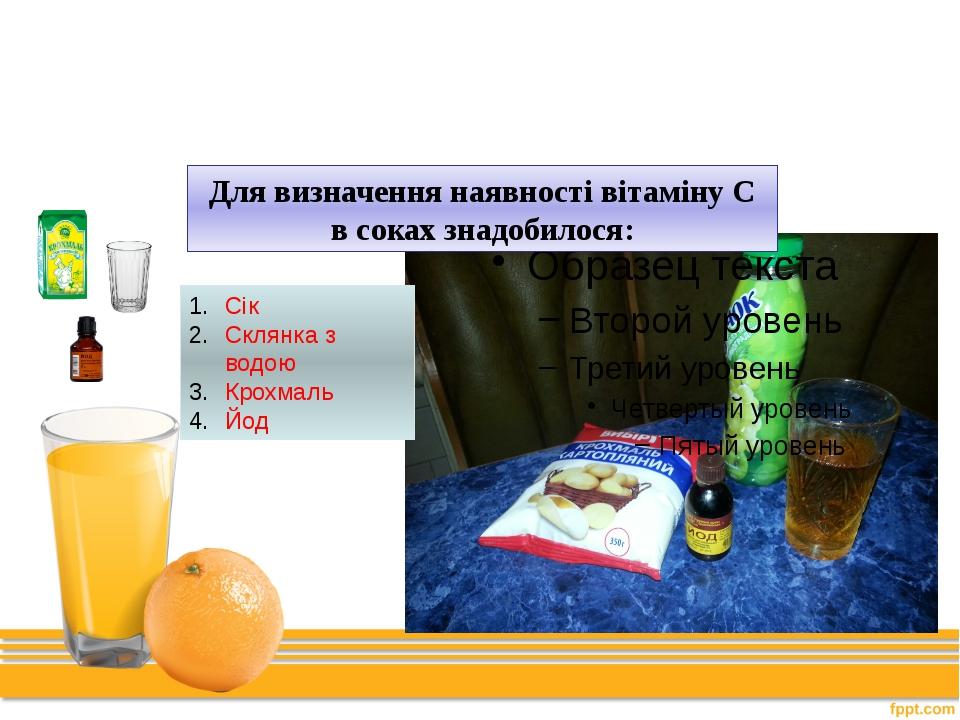 Дослід № 1 Для визначення наявності вітаміну С в соках знадобилося: Сік Склян...