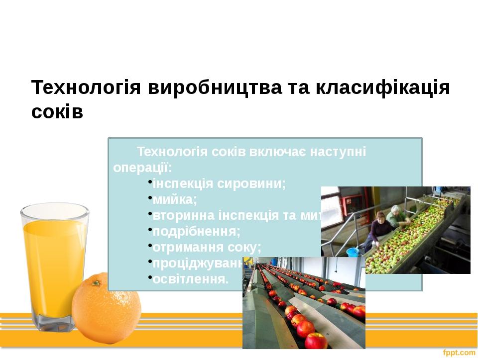 Перший крок Технологія виробництва та класифікація соків Технологія соків вкл...