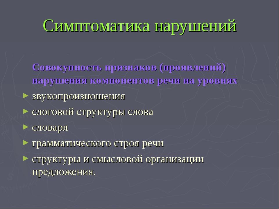 Симптоматика нарушений Совокупность признаков (проявлений) нарушения компоне...