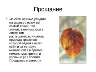 Прощание «И если осенью увидите на дереве листок вы самый яркий, так, значит,