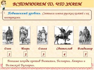 Повышенный уровень. Соотнеси имена русских князей с их поступками. ВСПОМИНАЕ