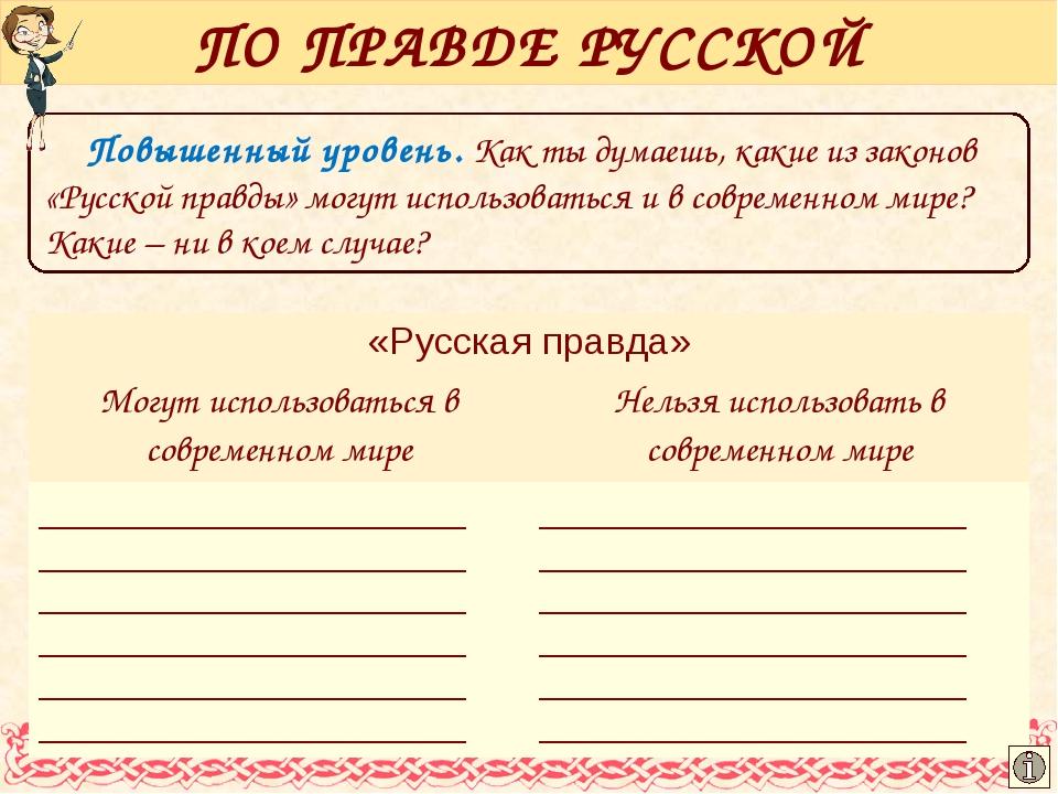 Повышенный уровень. Как ты думаешь, какие из законов «Русской правды» могут и...