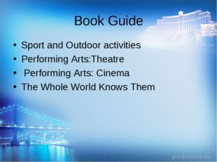 Book Guide Sport and Outdoor activities Performing Arts:Theatre Performing Ar