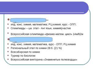 Лапшина Полина – инд. конс. химия, математика; РЦ-химия; курс - ОПП; Олимпиад