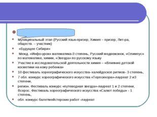 Лихацкая Арина Муниципальный этап (Русский язык-призер, Химия – призер, Лит-р