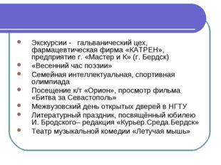 Экскурсии - гальванический цех, фармацевтическая фирма «КАТРЕН», предприятие