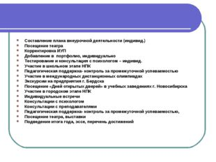 Составление плана внеурочной деятельности (индивид.) Посещение театра Коррект