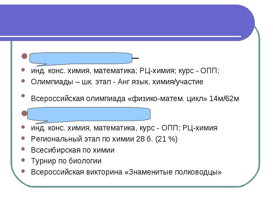 Лапшина Полина – инд. конс. химия, математика; РЦ-химия; курс - ОПП; Олимпиад...