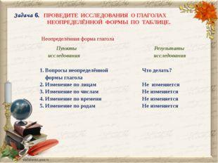 Задача 6. ПРОВЕДИТЕ ИССЛЕДОВАНИЯ О ГЛАГОЛАХ НЕОПРЕДЕЛЁННОЙ ФОРМЫ ПО ТАБЛИЦЕ.
