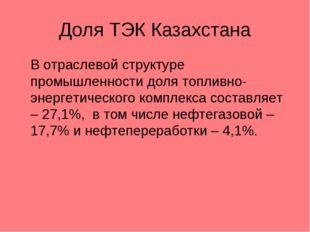 Доля ТЭК Казахстана В отраслевой структуре промышленности доля топливно-энер