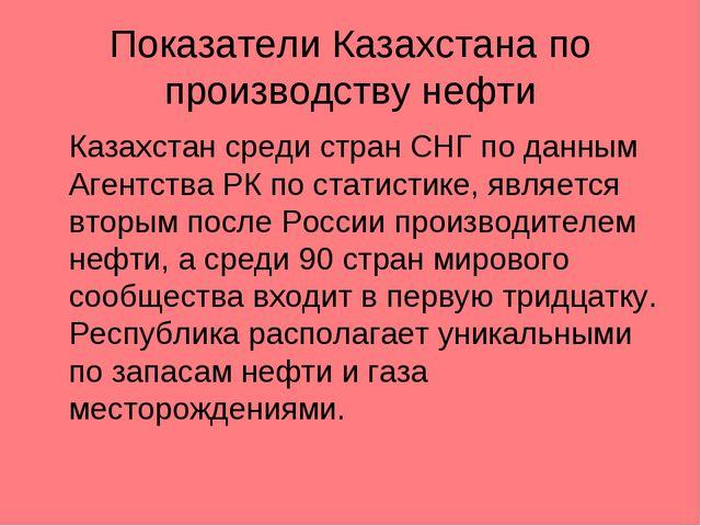 Показатели Казахстана по производству нефти Казахстан среди стран СНГ по дан...