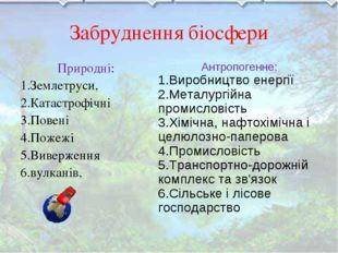 Забруднення біосфери Природні: 1.Землетруси, 2.Катастрофічні 3.Повені 4.Пожеж