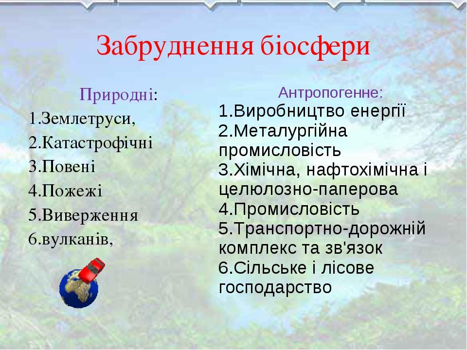 Забруднення біосфери Природні: 1.Землетруси, 2.Катастрофічні 3.Повені 4.Пожеж...