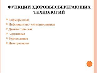 ФУНКЦИИ ЗДОРОВЬЕСБЕРЕГАЮЩИХ ТЕХНОЛОГИЙ Формирующая Информативно-коммуникативн