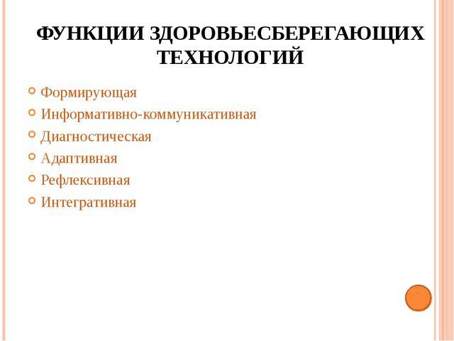 ФУНКЦИИ ЗДОРОВЬЕСБЕРЕГАЮЩИХ ТЕХНОЛОГИЙ Формирующая Информативно-коммуникативн...
