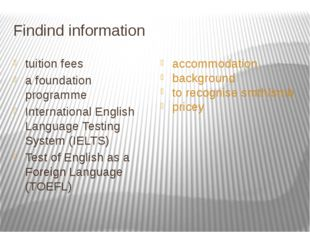 Findind information tuition fees a foundation programme International English