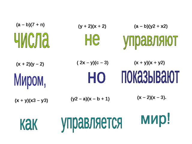(a – b)(7 + n) (y + 2)(x + 2) (a – b)(y2 + x2) (x + 2)(y – 2) ( 2x – y)(c – 3...