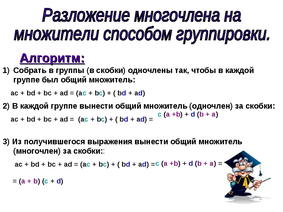 Алгоритм: Собрать в группы (в скобки) одночлены так, чтобы в каждой группе бы...
