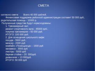 согласно смете:   Всего 40 000 рублей.    Финансовая поддержк