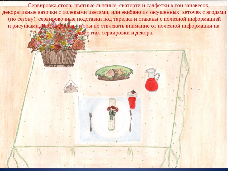 Сервировка стола: цветные льняные скатерти и салфетки в тон занавесок, декор...