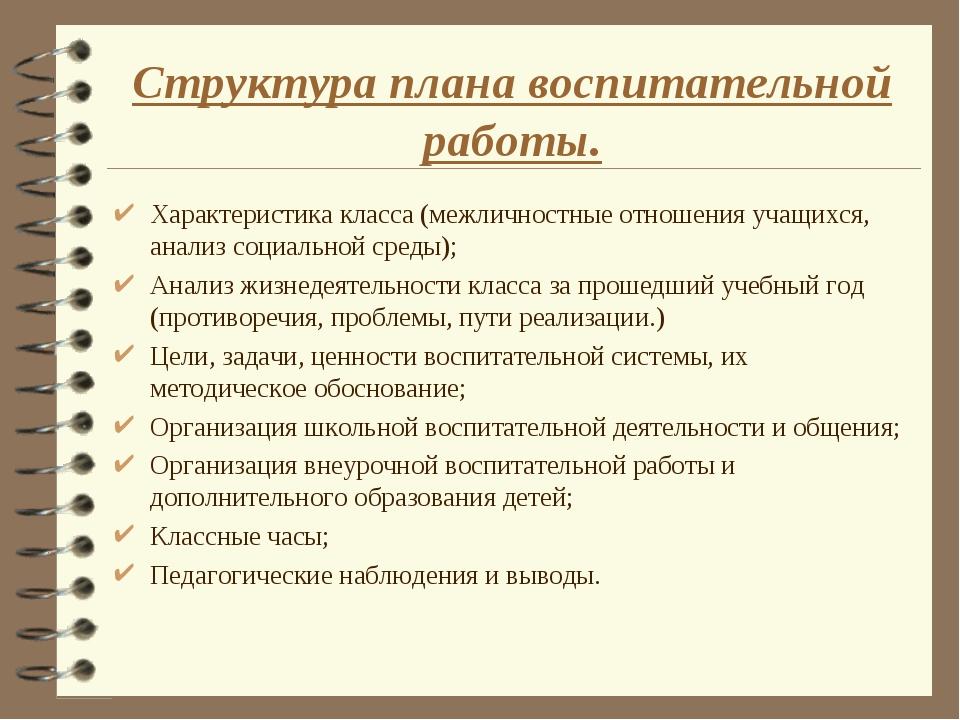 Структура плана воспитательной работы. Характеристика класса (межличностные о...