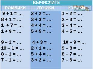 ВЫЧИСЛИТЕ РОМБИКИ ЛУЧИКИ КУБИКИ 9 + 1 = … 8 + 1 = … 1 + 7 = … 1 + 9 = … 2 +