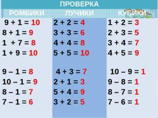 ПРОВЕРКА РОМБИКИ ЛУЧИКИ КУБИКИ 9 + 1 =10 8 + 1 =9 1 + 7 =8 1 + 9 =10 2 + 2=4