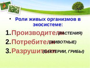 Роли живых организмов в экосистеме: Производители Потребители Разрушители (РА