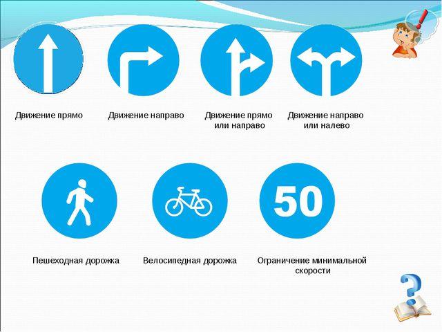 Ограничение минимальной скорости Пешеходная дорожка Велосипедная дорожка Движ...
