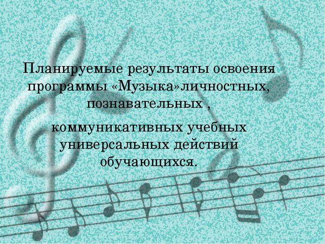 Планируемые результаты освоения программы «Музыка»личностных, познавательных...